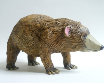 Brown Bear Sculpture - Grizzly Bear Figurine, Animal Decor, Handmade Bear Ornament, Collectable Wildlife Art Object, Animal Paperweight