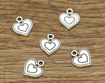 50pcs Heart Charms Antique Silver Tone Double Heart Bulk Charms 12x14mm 2411
