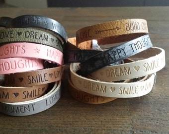 Handmade trendy bracelets with quote! Hip, musthave & tough! Quote bracelets.
