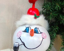Hand painted snowman gourd with pipe by Debbie Easley