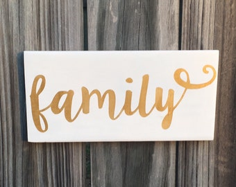 white and gold family sign, you pick colors, hand painted mantle decor gold home decor
