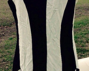 Black and white 80's form fitting dress
