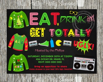 80's Christmas / Holiday Ugly Sweater Party Invitation