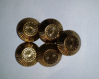 Vintage Gold Tone Metal Buttons with Black Streaks