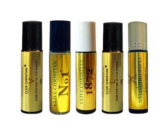 5 Piece Roll On Set of Clive_Christian* IMPRESSION Perfume Oils for Women. Our VERSION of No.1, X, 1872, L, V. 100% Pure, No Alcohol