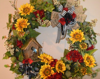Spring Sunflower Wreath, Birdhouse Wreath, Spring Wreath, Summer Wreath