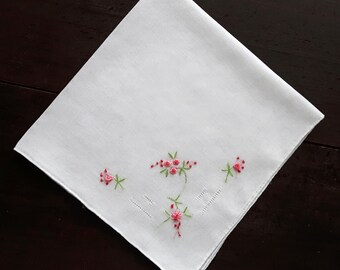 White cotton vintage handkerchief with embroidery