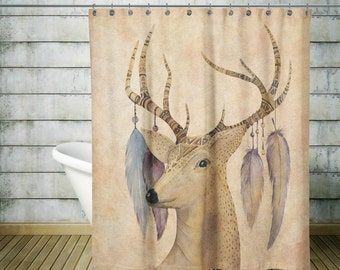 Boho Shower Curtain , Soft Grunge ,Deer , Antlers, Feathers , Bohemian Chic