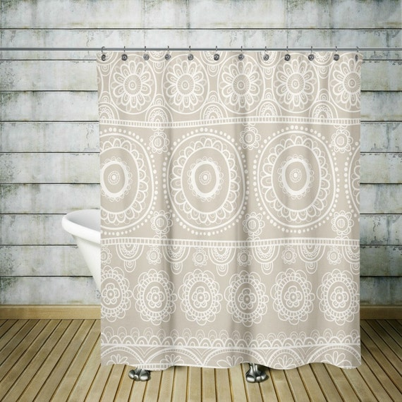 Items Similar To Shower Curtain Boho Chic Beige White