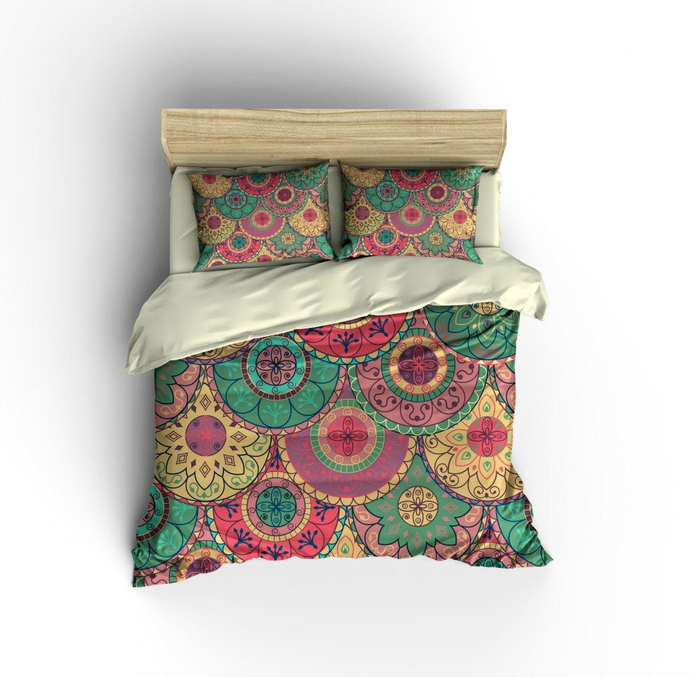 Boho Bedding Duvet COVER Set Mandala Floral Design