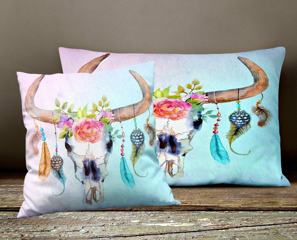 Boho Style Throw Pillows : Boho Chic Throw Pillows , Bull Skull Dream Catcher Square , Rectangle , Many sizes Pillow ...
