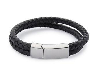 Double Leather Weave Bracelet - Black