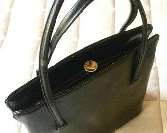 Vintage Margolin handbag, little black purse, vintage faux leather purse, leather handbag