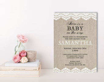 burlap and lace burlap baby shower invitation lace invitations vintage baby shower invitations