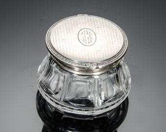 Art Deco sterling lid cut glass vanity jar