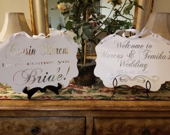 Double Sided Gold wedding sign,Wedding sign,Here comes your Bride Sign, Photo Prop, Ring bearer sign, Flower girl sign, Wedding decor,Gold