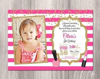 Makeup invitation, makeup birthday party invitation, Manicure party, spa invitation, glamour, glitter, digital, printable invitation
