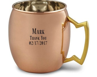 Personalized Moscow Mule Mug Solid Copper 16oz. Groomsmen Copper Mug Engraved For Free Moscow Mule Mug Wedding Gift Copper Gift Monogrammed