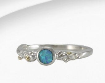 Opal ring, birthstone ring, gemstone ring, blue stone ring, sterling silver ring, gold ring, organic ring, unique ring, handmade ring