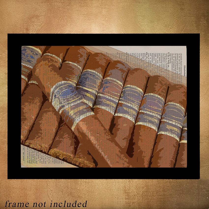 Cigar Box Wall Art: Cigar Box Dictionary Art Print Smoke Tobacco Cigars Art Wall