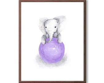New Baby Gift, Baby Wall Art, Watercolor Painting, Kids Room Art, Baby Elephant, Elephant Wall Art, Balloon, Art Print - E352W