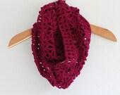 HANDMADE Crocheted Berry Infinity Scarf. Dark Pink Scarf. Winter Scarf. Warm Scarf. Fancy Scarf.