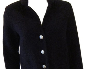 Brooks Brothers Vintage Dark Blue Wool Jacket with Salzburg Silver Crested Buttons - Size Medium