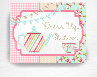 Tea Party Printable Dress Up Station Sign You Print Tea for Two Pink Blue Floral INSTANT DOWNLOAD