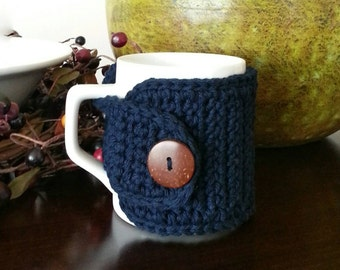 Cotton Coffee Mug Cozy, Navy Blue Cup Cozy, Coffee Lovers Gift, 20 Colors