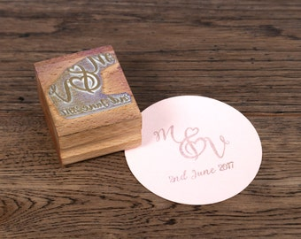 Personalised Wedding Monogram Stamp - Wedding Initials Stamp, Monogram stamp, wedding invitation stamp, Custom Rubber Stamp