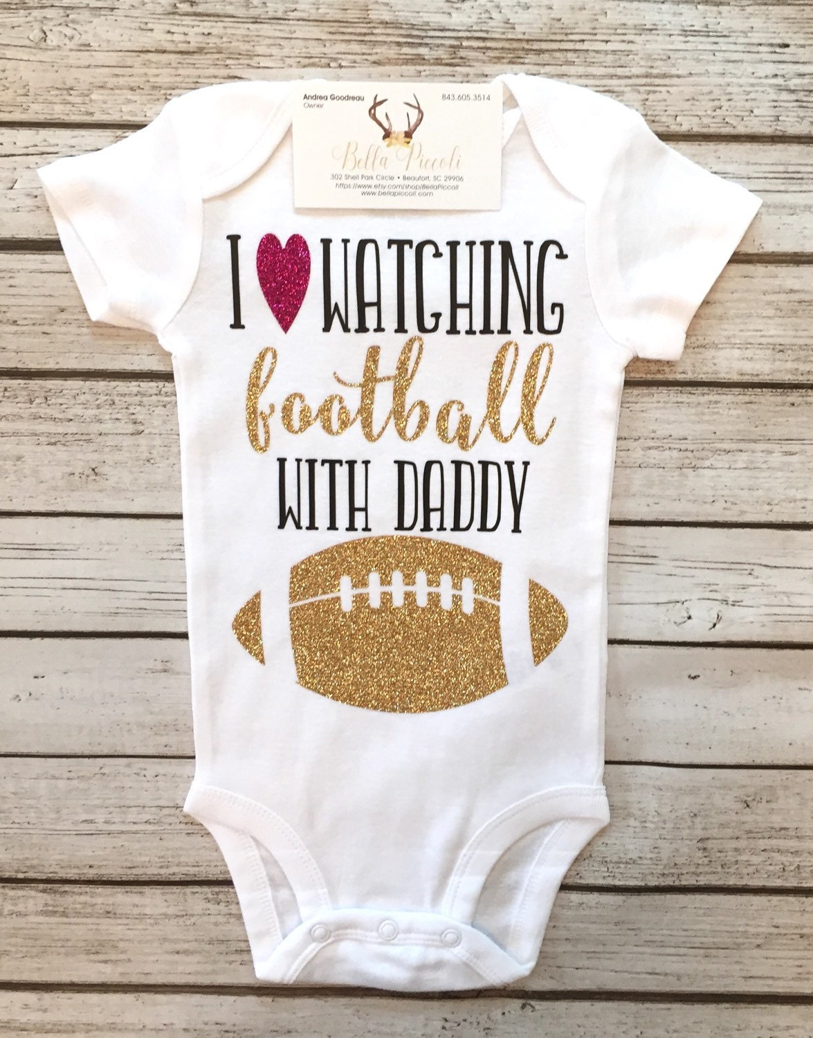 Baby Girl Clothes I Love Watching Football With My Daddy