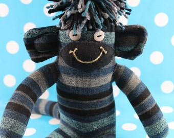 Sock Monkey / Striped / Heather Blue, Brown, Grey, Mint Green, Black, Turquoise / Nursery Decor / Baby Shower Gift / Gifts for Him / Unique