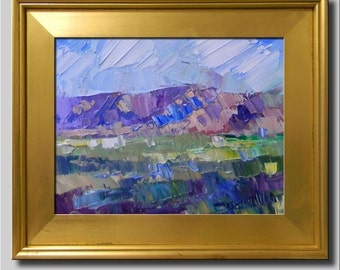 Plein Air Landscape Painting, Impressionist Oil Painting, Fields, Hills, Sky Painting, Abstract Painting