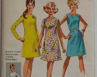Vintage sewing patterns. Simplicity 8027. Dress pattern 1969
