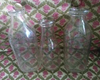 Vintage Milk and Cream Bottles (3) Instant Bottle Collection Old Glass Bottles