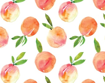 Sweet Peach - Watercolor - Organic Swaddle, Boppy Cover, Crib Sheet, Changing Pad Cover, Minky Baby Blanket