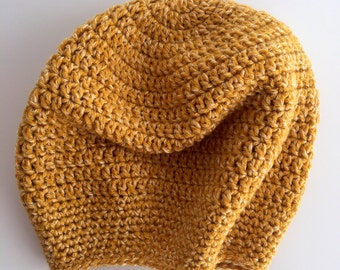 Yellow, Cream-Flecked Crocheted Slouch Hat