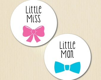 Gender Reveal Party Stickers, Little Miss, Little Man, Bows and Bow Ties, Baby Shower Voting, Team Pink, Team Blue, Team Boy, Team Girl
