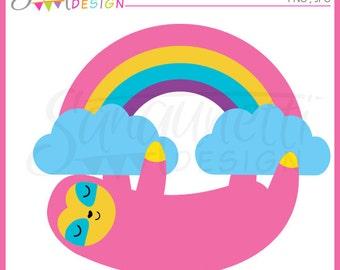 sloth clipart, sloth clip art, rainbow clipart, rainbow clip art, cute clipart, Instant download