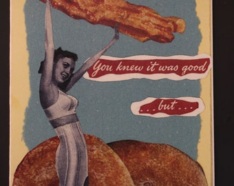 Collage print card - 'BACON'