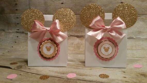 Decoracion Minnie Gold ~ Pink and gold Minnie Mouse (Inspired) bags!! Minnie Mouse (Inspired