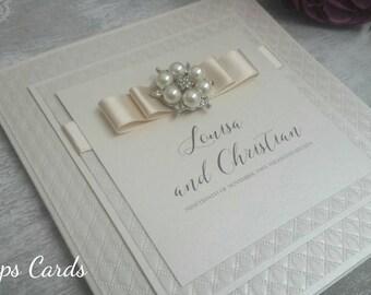 Luxury personalised bespoke wedding Invitation champagne wedding invitation pearl brooch wedding card couture wedding invitation