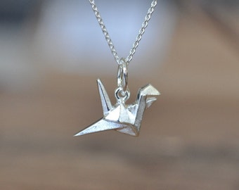 Sterling Silver Origami Crane Necklace, Silver Crane Necklace, Silver Bird Necklace, Origami Animal Jewelry, Geometric Crane Necklace
