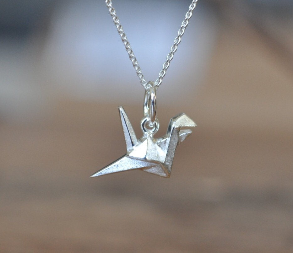 sterling silver origami crane necklace silver crane necklace