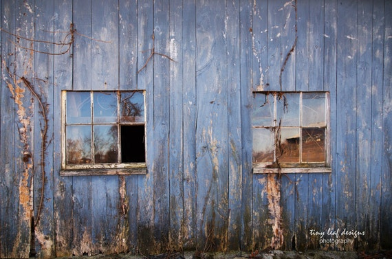 Blue Weathered Abandoned Rustic Barn Original Photography