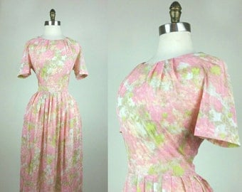 50s Day Dress Pink and Green Sheer M/L