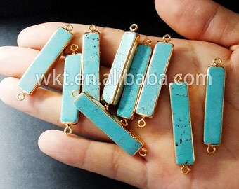 WT-C062  New! Natural gemstone turquoise connectors with 24k gold plated, green turquoise connectors pendants