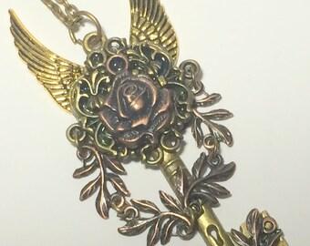 Forbidden Rose, embellished key,vampire jewelry, skeleton key, steampunk key, fantasy key,steampunkjJewelry,gothic jewelry,steampunk pendant