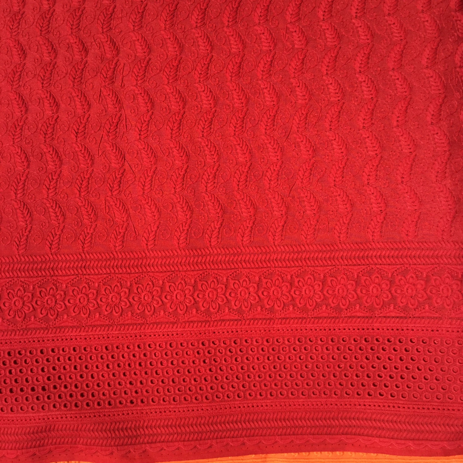 Red eyelet fabric lace cotton colored