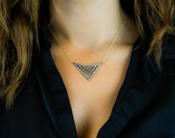 Abstract Pave Diamond Pendant - Gold Filled Chain - Minimalist Jewelry - Oxidized Silver - Pave Diamonds - Everyday Jewelry - Layering